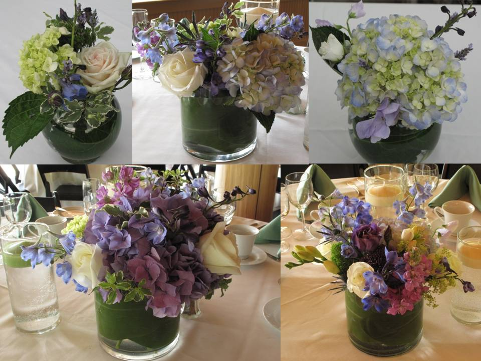 purple hydrangea centerpieces for Vermont wedding