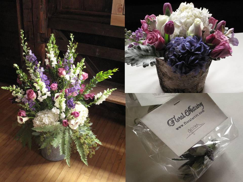 white and purple wedding flowers vermont