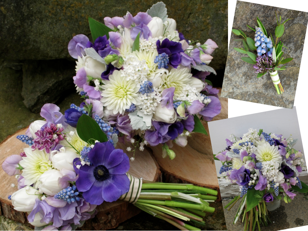Floral Artistry By Alison Ellis Purple White And Blue Wedding