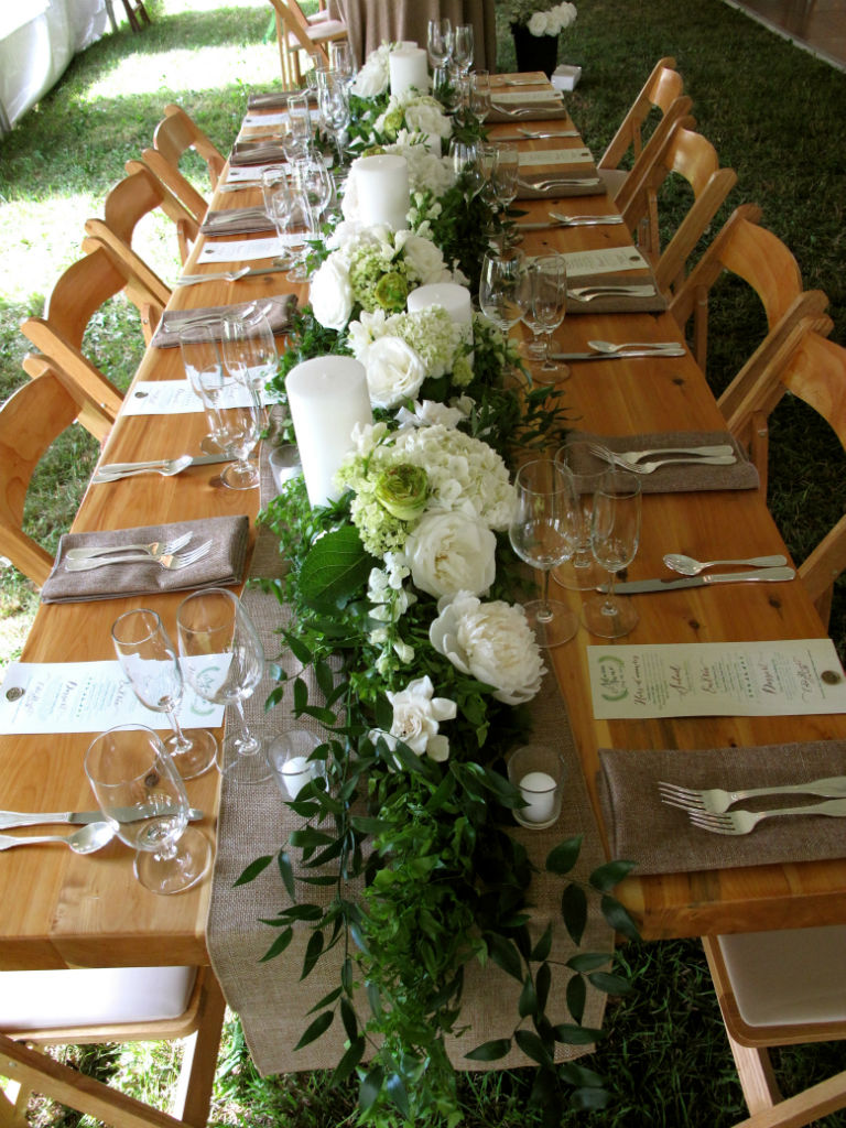 greenery, garlands Floral with table  fresh runners runners table white photos hydrangea  of
