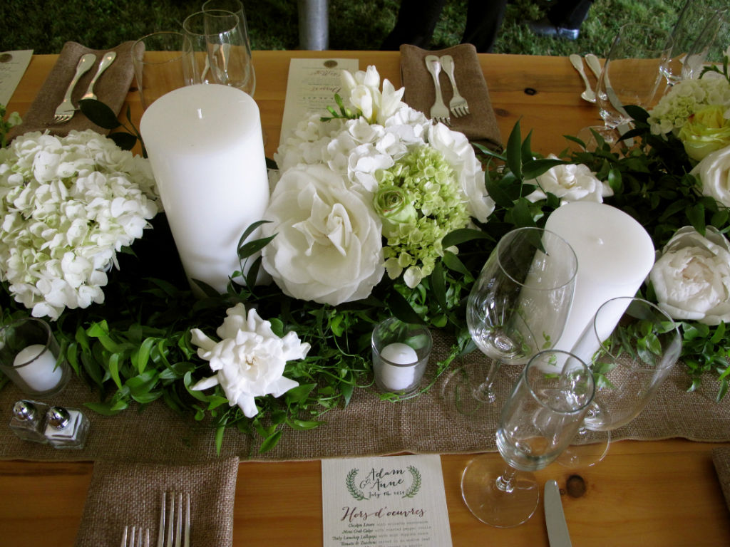 white and green wedding, floral table runner