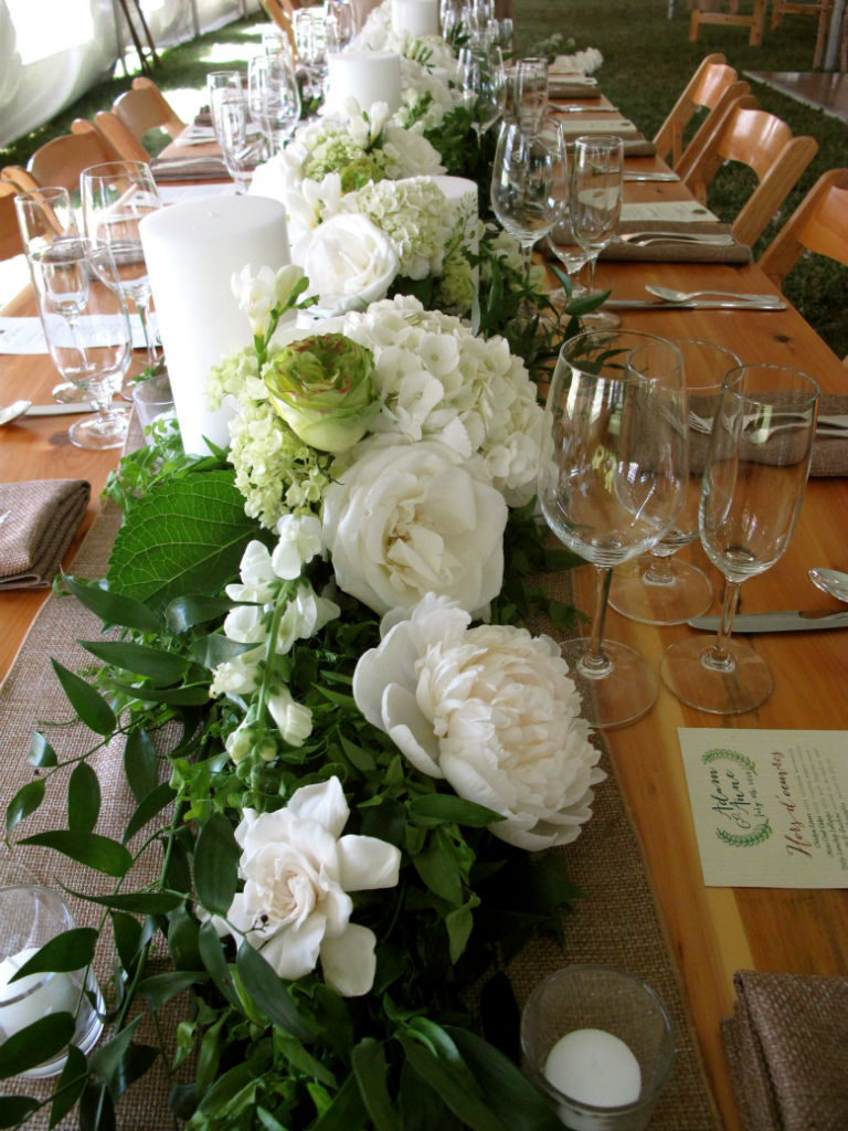 Floral artistry fresh floral table runners floral for Floral table decorations for weddings