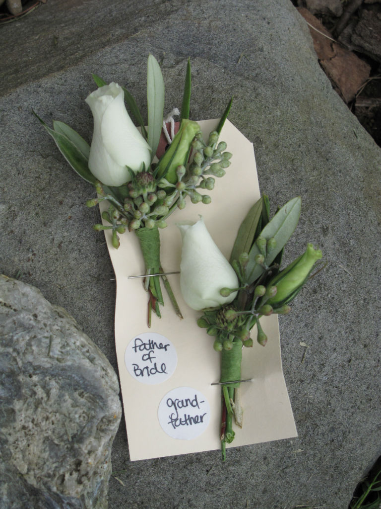White boutonniere, Flowers for Vermont Wedding