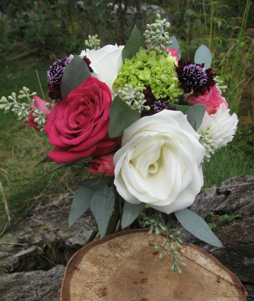 raspberry, white and burgundy wedding flowers