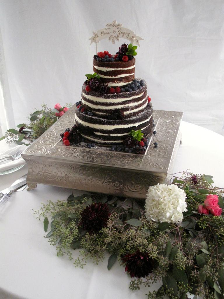 naked wedding cake, Vermont Wedding Cake, Vermont Flowers