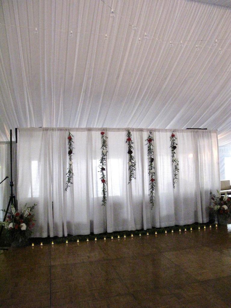 rainy wedding day ceremony flowers,