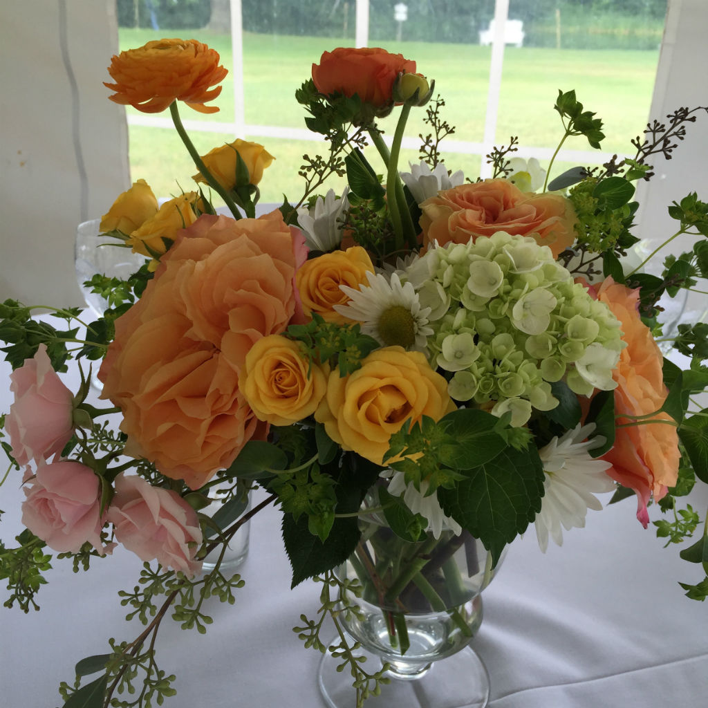 summer wedding flowers centerpiece for vermont wedding