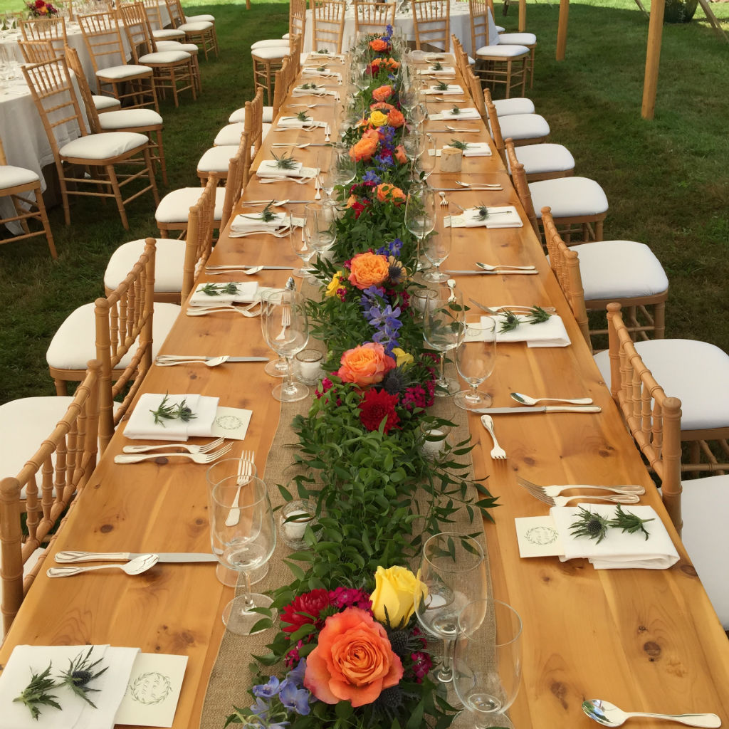 head table, wedding flowers in Stowe, Vermont, Floral Artistry