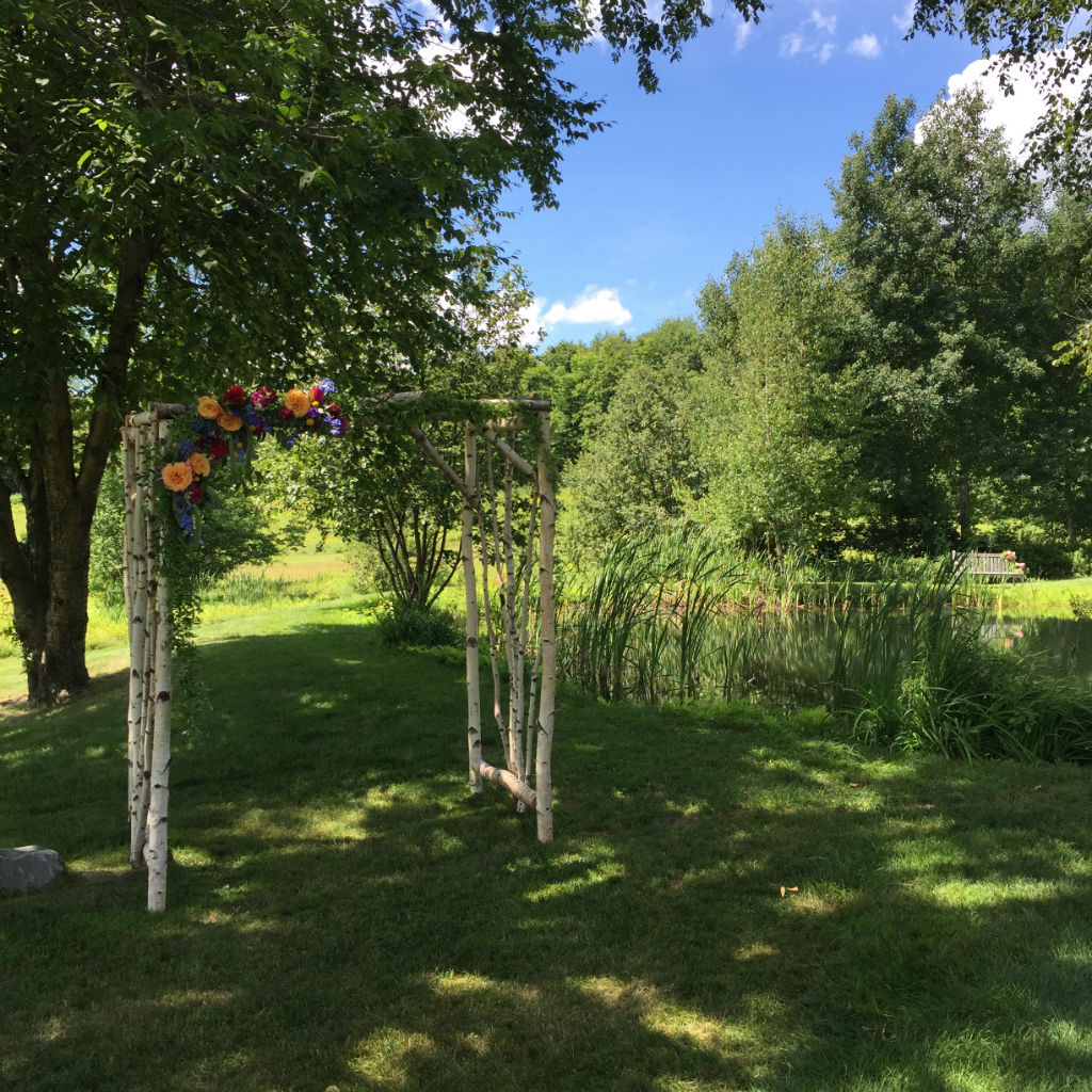 birch arbor by Floral Artistry, Vermont wedding flowers, Stowe wedding flowers