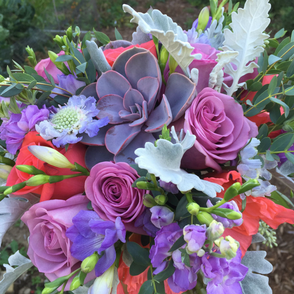 roses, gladiolus, succulents, Vermont Wedding