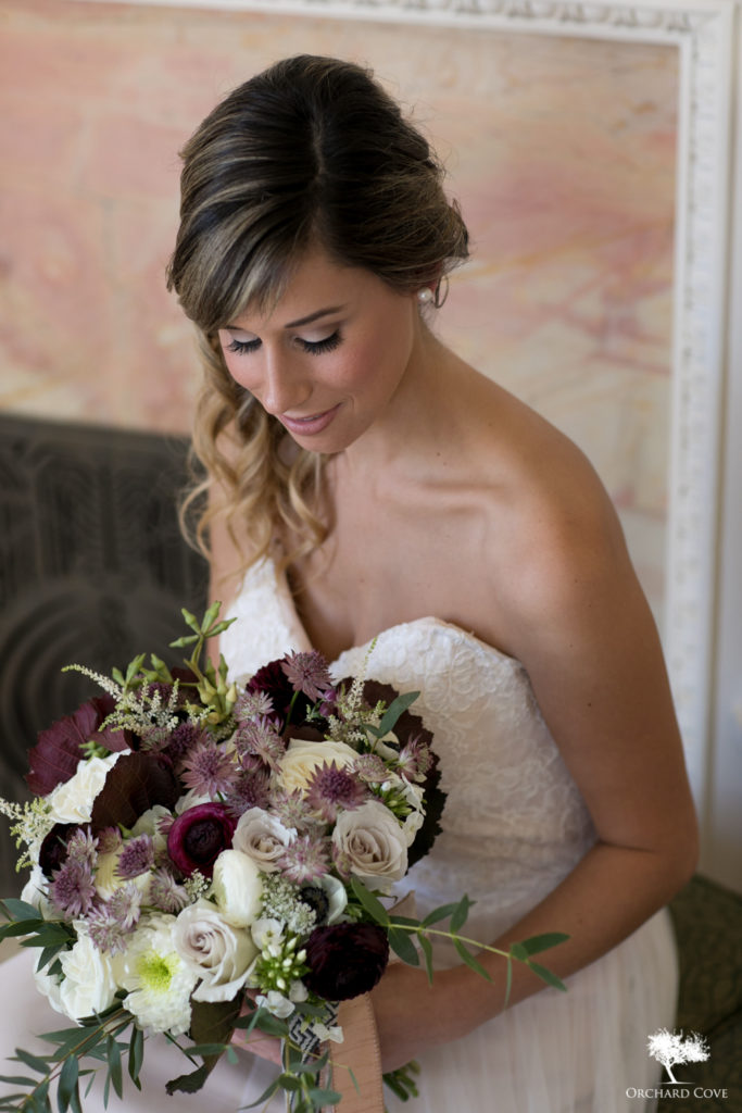 plum, white, grey bridal bouquet, Vermont Wedding Flowers