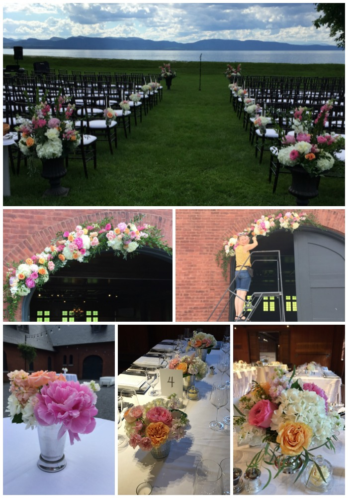wedding flowers at The Coach Barn, Shelburne Farms, VT