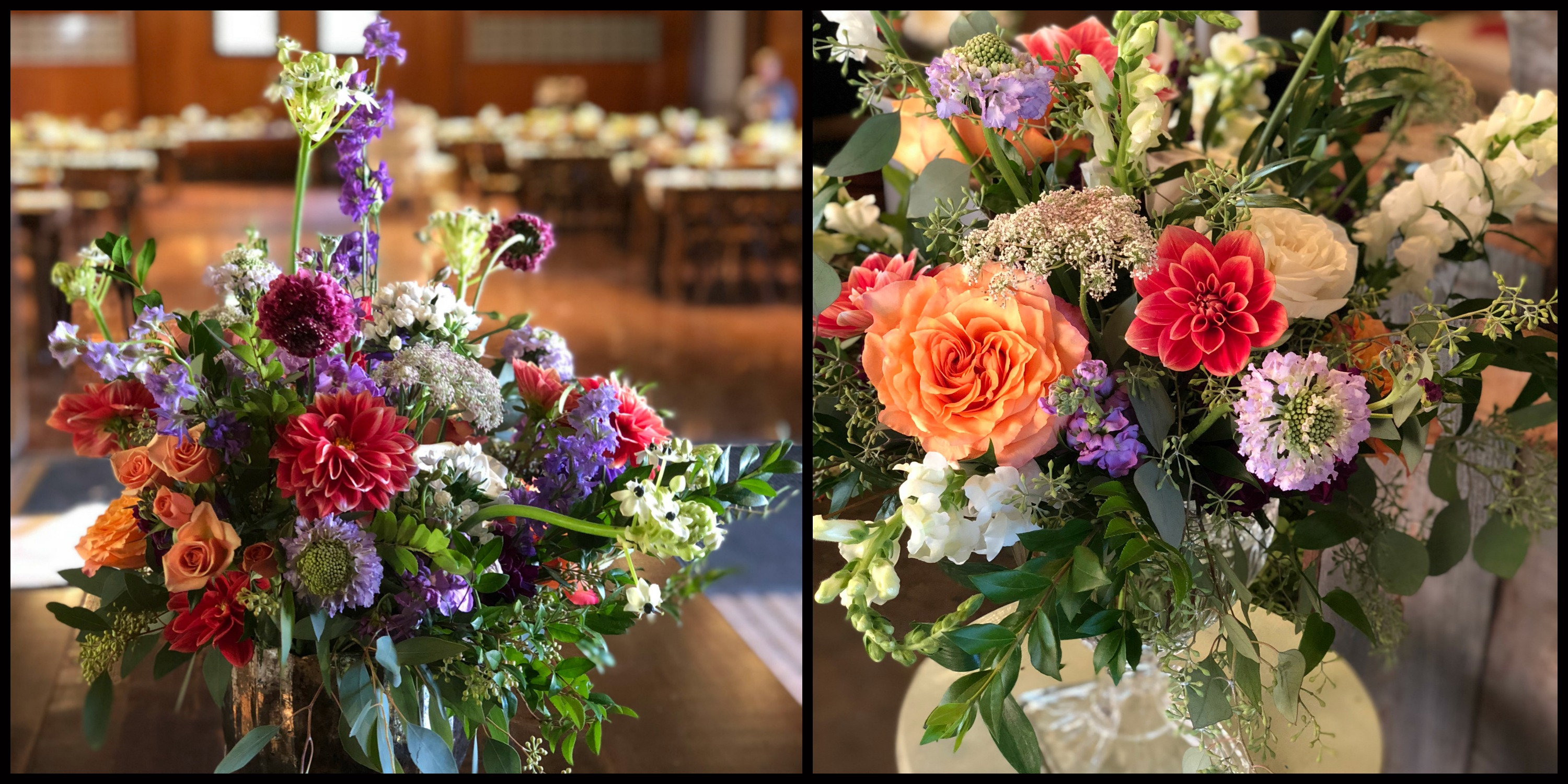 wedding at The Coach Barn at Shelburne Farms, fall wedding flowers